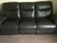 Leather Suite for Sale. Recliner Chair, 3 Seater Recliner Sofa and Pouffe