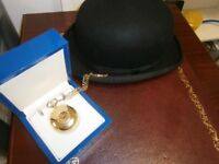 ROTARY Gold Plated Mechanical Half Double Hunter Pocket Watch and chain rrp 170
