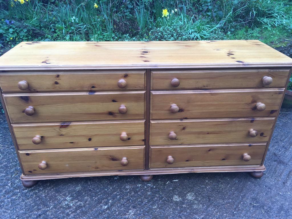 Sold Stc Double Solid Pine Vintage Chest Of 8 Drawers Dresser By