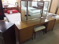 Dark Brown Wood Dressing Table and Mirror