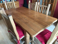 Rustic pine dining table and 6x chairs (with cushions)
