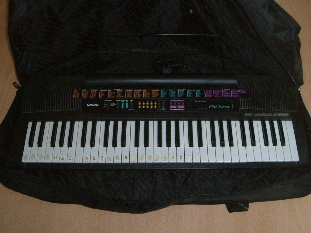 Keyboard with Carry Bag and Tutor Booksin York, North YorkshireGumtree - Keyboard with Carry Bag and Tutor Books Casio CTK 520L Keyboard With Operation Manual & Song Book and music stand and power supply In working order Lightweight to carry Accepted by schools for keyboard lessons. 3ft x 1ft x 3inches deep. Lots of...