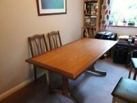 G Plan Six seater dining table, excellent condition + six chairs, brown leather effect seat covers