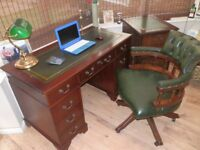 Reproduction Antique Style Leather Top Desk, matching filing cabinet, Chesterfield Captain's chair,