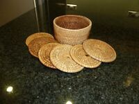 Six Ratan Coasters In Matching Basket