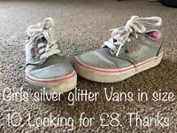 Girls Genuine Silver Glitter Vans size 10