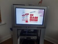 Panasonic 28 inch 100Hz Analogue Colour Television and stand with 2 Scarts minus remote, Cost £499,