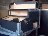 A Black and Silver Desk Flight Case with Front Opening