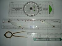 "Portman course plotter, parallel ruler, rolling ruler and 7"" hand dividers"