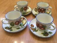STAFFORDSHIRE AUTUMN FAYRE CUPS & SAUCERS X 4