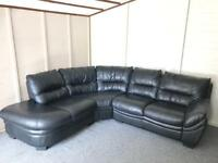 ~ BLACK LEATHER ~ CORNER SOFA SUITE