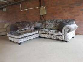 Crushed velvet corner sofa - LLB ex display - can deliver