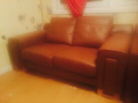 Tanned leather sofa