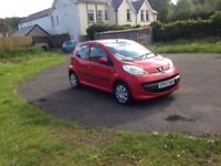 **Peugeot 107 Urban, 1 litre red, good condition £20 / year tax**