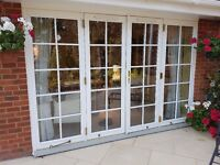 Jeld Wen Double doors and side panels white with brass fittings and 5 point security lock
