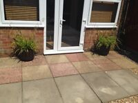 Two large garden plant pots