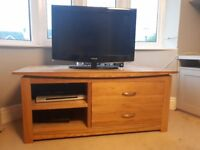 Solid oak TV Cabinet with DVD storage drawers