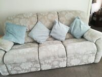 Three seater sofa and two armchairs (one recliner)