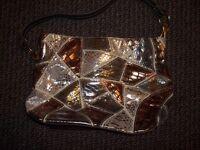 Gold/bronze/silver handbag with shoulder strap