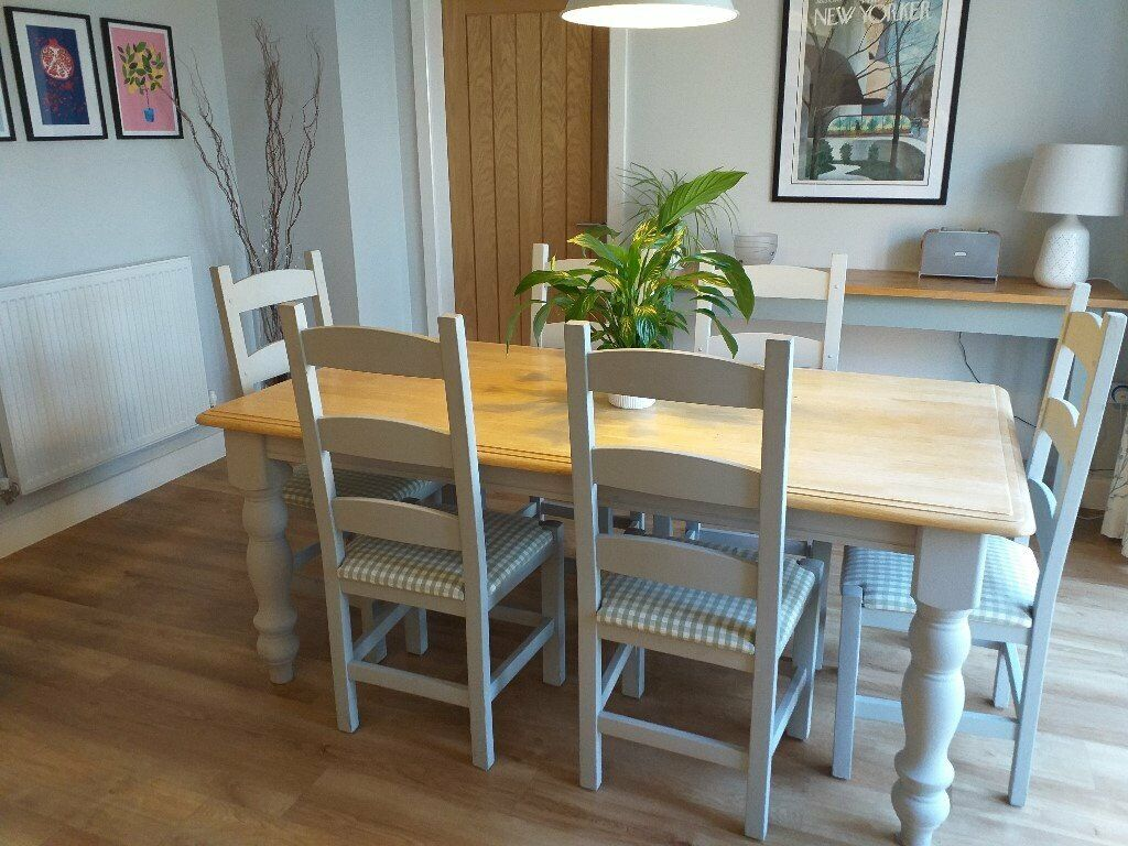 Shabby chic painted dining table and chairs: custom listing for