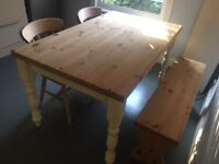 Farmhouse kitchen table, 2 wooden chairs and a wooden bench