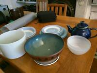 Plates, teapot and bowls. FREE