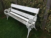 Two matching garden benches, Victorian ornate Ivy Leaf Ends
