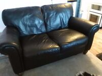 2 seater sofa in Black, soft leather