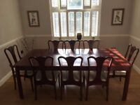 Beautiful Solid Indonesian Teak Wood Dining Table, Side Table & 8 Chairs