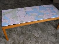 Original map covered coffee table