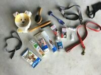 COLLECTION OF DOG ACCESSORIES AND PRODUCTS, BOWLS, BRUSHES, LEADS, MOSTLY NEW