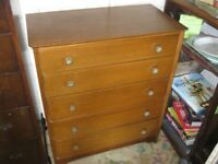 CHEST OF DRAWERS. 5 DEEP DOVE-TAILED TEAK DRAWERS. VIEWING/DELIVERY AVAILABLE