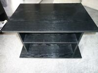 WOODEN TV TABLE, BLACK, IN VERY GOOD CONDITION