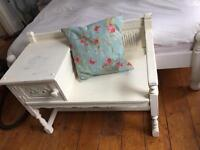 Solid oak Old Charm Telephone seat / hall seat Farmhouse shabby chic