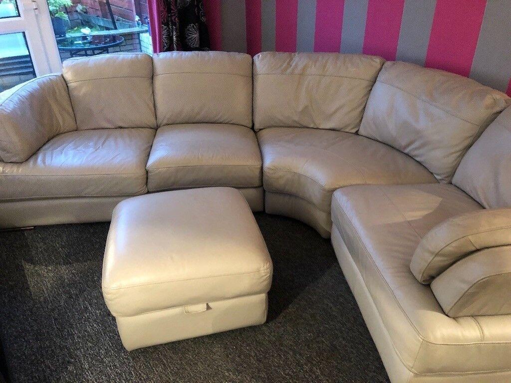 Light Grey Leather Corner Sofa With Footstool In Erskine Renfrewshire