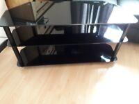 Black glass tv unit good condition