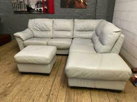 GREY LEATHER CORNER SOFA AND FOOTSTOOL PRE-OWNED