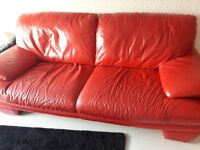 3 & 3 seater red leather sofa