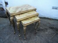 Vintage Marble/Onyx - Nest of 3 Tables. * Vinatge/Shabby Chic Furniture - set of Tables.*