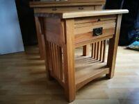 Solid oak butchers block/end table