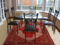 ORNATE FRENCH CHIC STYLE DINING TABLE & 6 CHAIRS (CAN DELIVER)