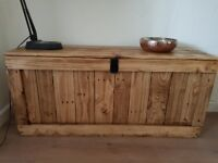 Large rustic wooden trunk bench/chest storage/ottoman. Handcrafted/reclaimed,