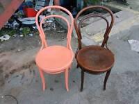 Chairs - 2 Retro Vintage ( TERPROO ) Dark Wood Chair and Orange Painted Chair