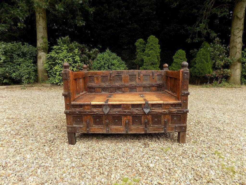 Beautiful Solid Wooden Indian Carved Day Bed Storage Bench