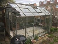 Large used Aluminium and glass greenhouse for sale