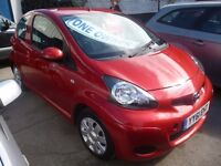 Toyota AYGO Ice VVTI,3 dr hatchback,stunning metallic red,full MOT,full suede/leather black interior