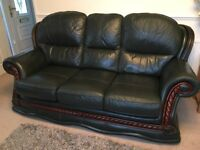 Dark green, English Leather Sofa, Armchairs and Footstool