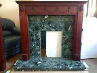 Marble Fireplace Surround With Wood