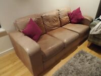 3 Seater Light Brown Leather Sofa with Two Scatter Cushions