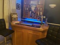 Home bar solid oak with working beer taps and 2 bar stools